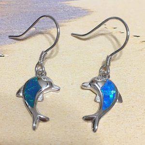 Sterling Silver Opal Dolphin Dangle Earring